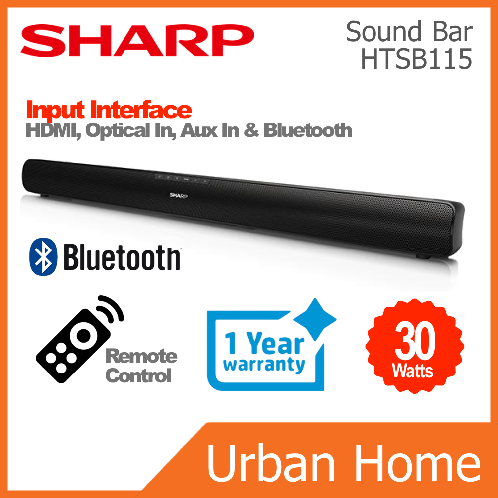 SHARP Home Theater Wireless Bluetooth Sound Bar (HT-SB115/HTSB115)