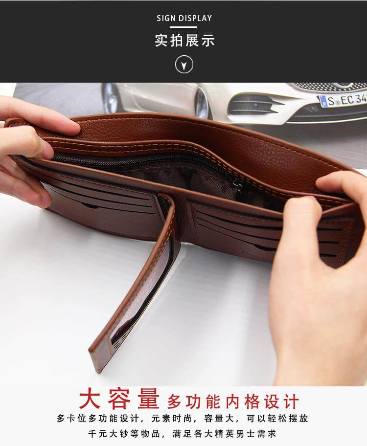 [M'sia Warehouse Direct] 2020 Korean Series Men's Fashion Wallet Bi-Fold Fengshui Wallet Europe Designer Perfect Gift (Come With Box) Clutch Card Coins Cash Slot With Zip Portable Hand Carry Bag Luxury Top Material Genuine Leather Halal Dompet Kulit