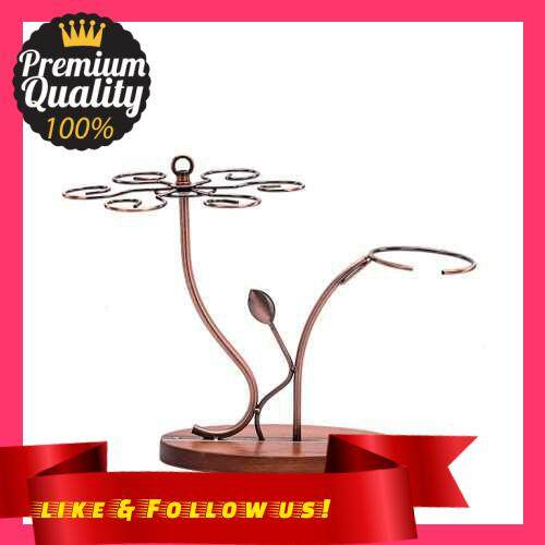 People\'s Choice 2-in-1 Red Wine Glass Rack & Wine Decanter Vintage Bronze 6 Wine Glasses Stemware Storage Display Drying Rack Stand Tabletop Free-standing Wine Glass Holder Solid Wooe Base (Standard)