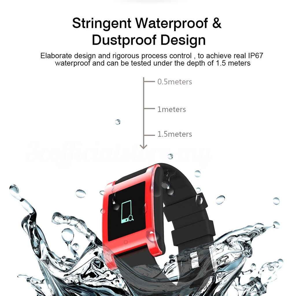 Smart Watch - KALOAD DM68 IP67 Waterproof Fitness Tracker Blood Pressure Heart Rate Monitor_3C - RED / BLACK