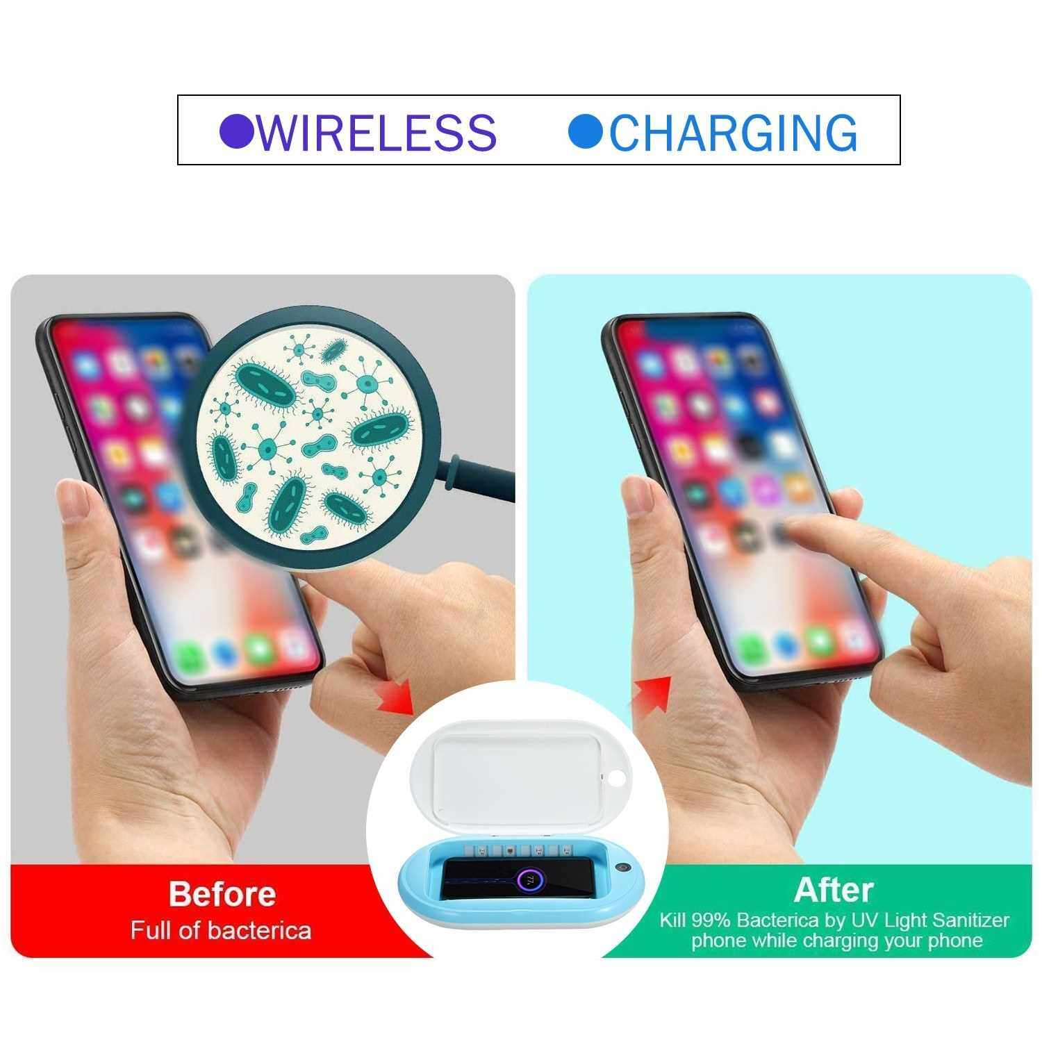 Portable UV Sanitizer with Wireless Charger Multi-Function UV Light Cell Phone Sterilizer with Aroma Diffuser for All Smart Phone Jewelry Watches Glasses and More (Standard)
