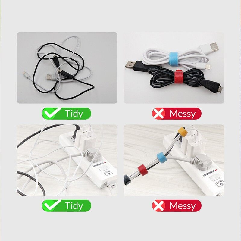 Cable Organizer Wire Winder Cable Holder for Mouse Cord Earphone USB Cable Management - BLACK / BLUE / RED / GRAY / WHITE / YELLOW