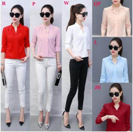 Korean Office Lady Casual Women Long Sleeve Chiffon Tee Shirt Blouse