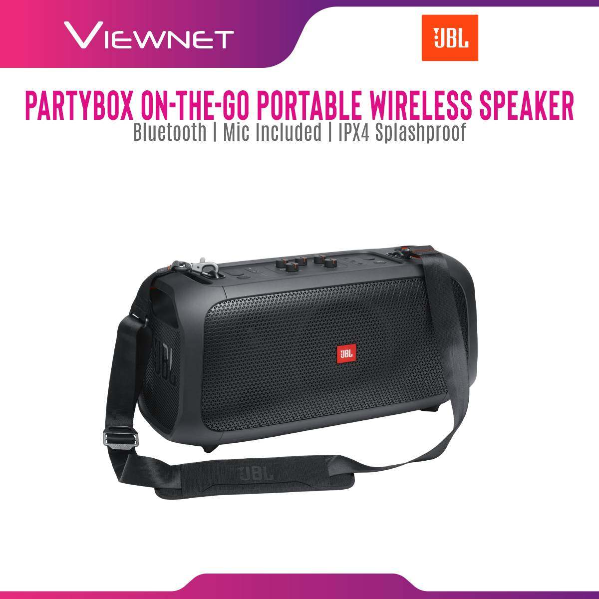 JBL Partybox On-The-Go Portable Wireless Speaker with built-in lights , IPX4 Splashproof ,  Wireless Microphone