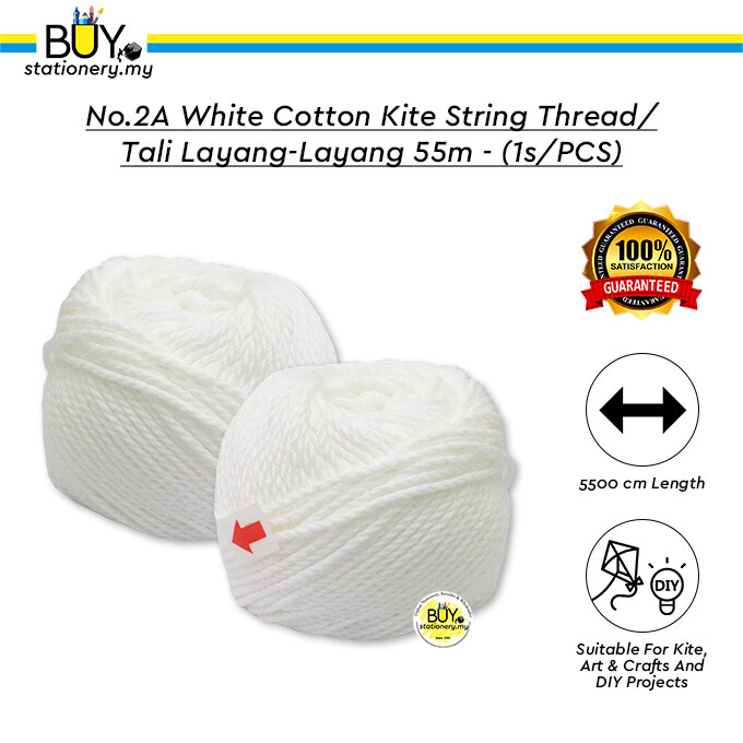 No.2A White Cotton Kite String Thread / Tali Layang-layang 55m - (1s/PCS)