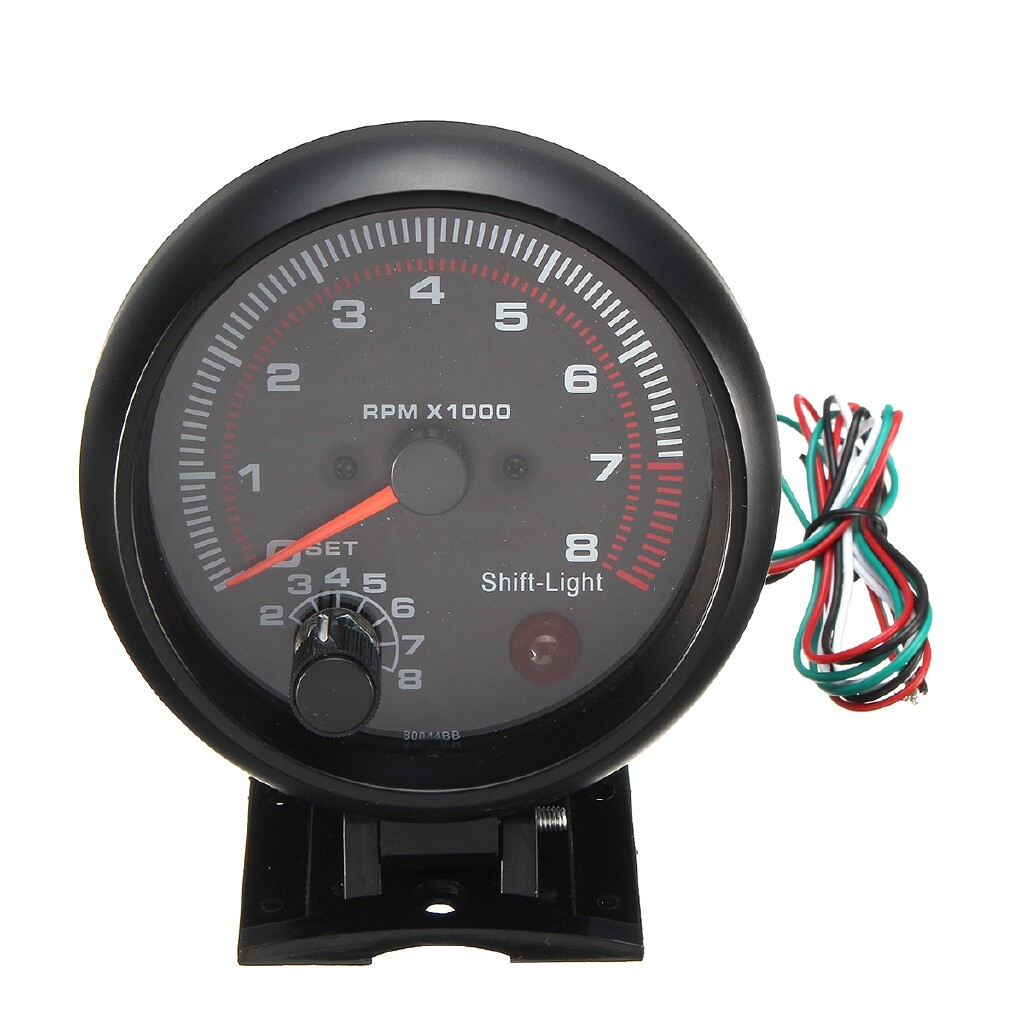 Gauges & Meters - 95mm/3.75 Car Tachometer Tacho Gauge Meter 0-8000 RPM With Red LED Shift Light - Car Accessories