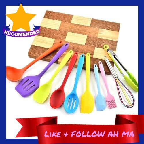 Best Selling Silicone Kitchen Utensil Set 10 Pcs Heat Resistant Non-Stick Spoon Spatula Ladle Cooking Tools Dinnerware (Multicolor)