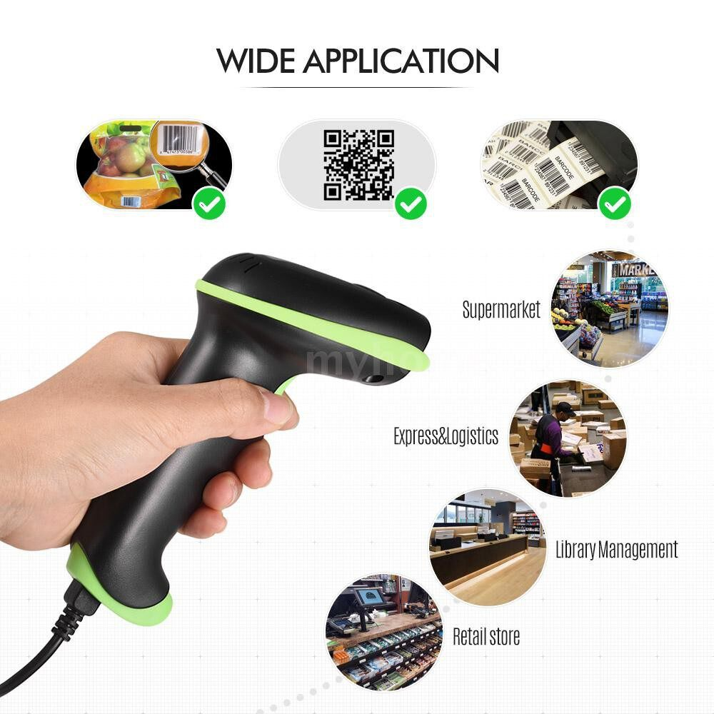 Printers & Projectors - Barcode Scanner 3 in 1 Automatic Handheld 2D 1D Bar Code Scanner Reader Support BT Function - GREEN / BLUE / BLACK / YELLOW