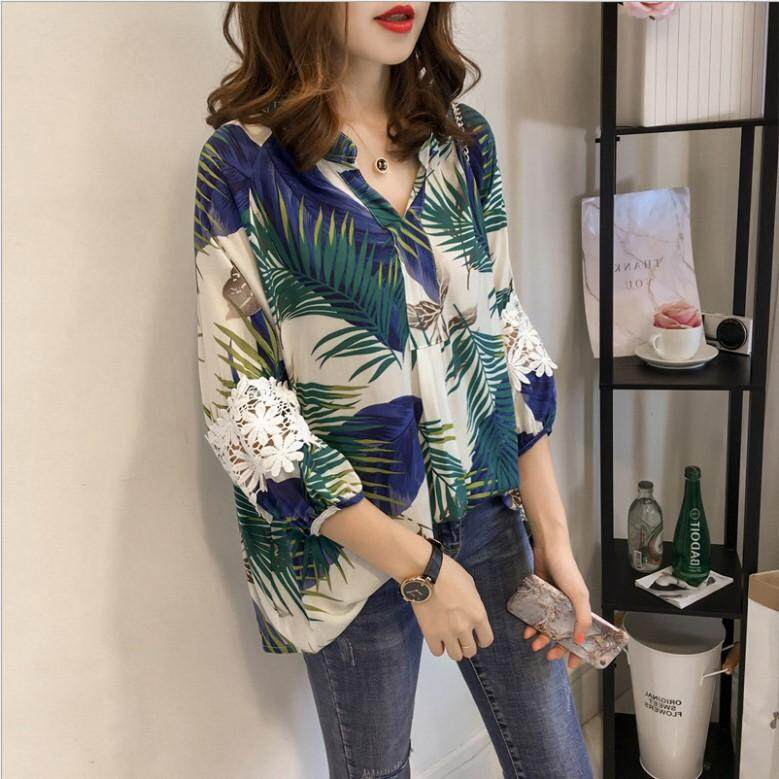 Plus Size Women Summer Leaf Flora Design Collar Casual Tee Wear