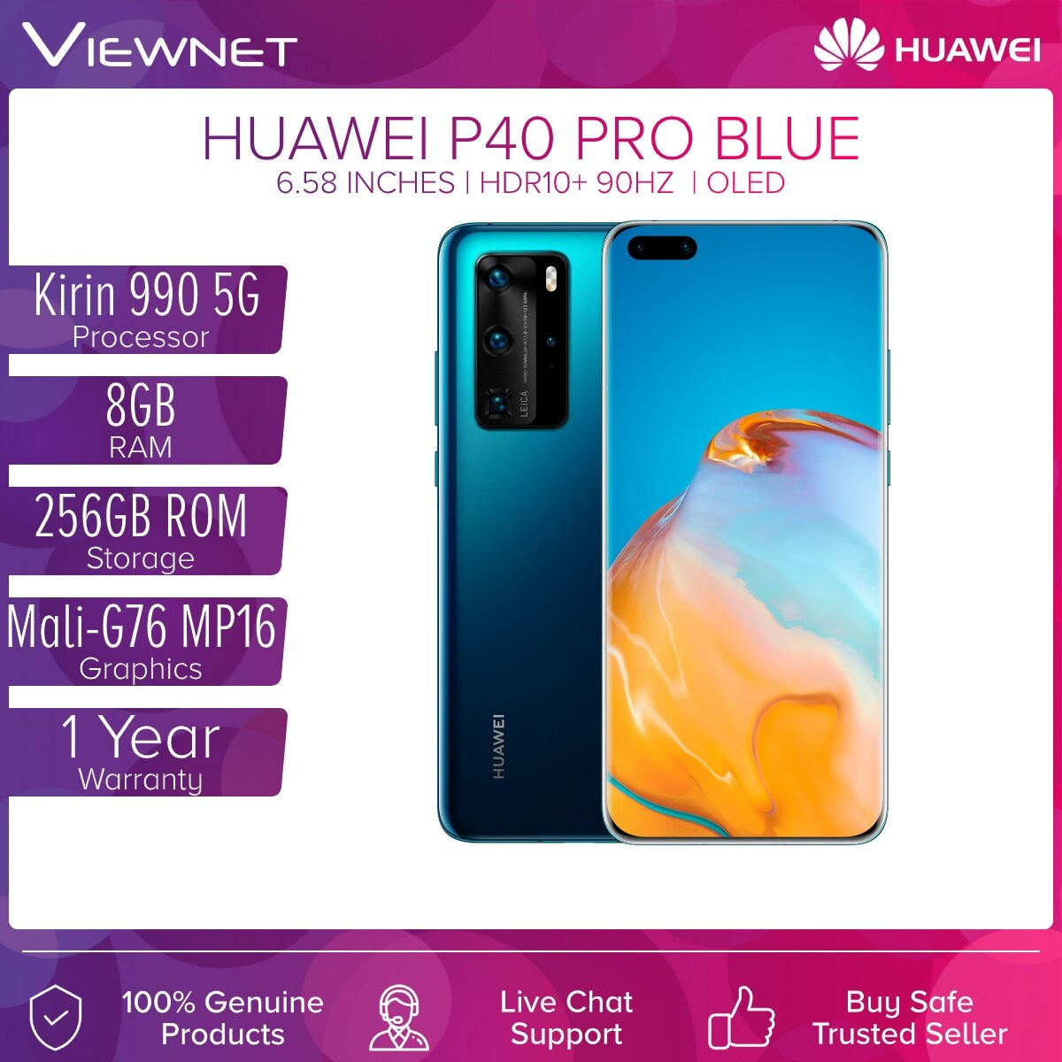 Huawei P40 Pro 5G Smartphone 8GB RAM + 256GB ROM Visionary Photography (Blue,Silver,Gold)