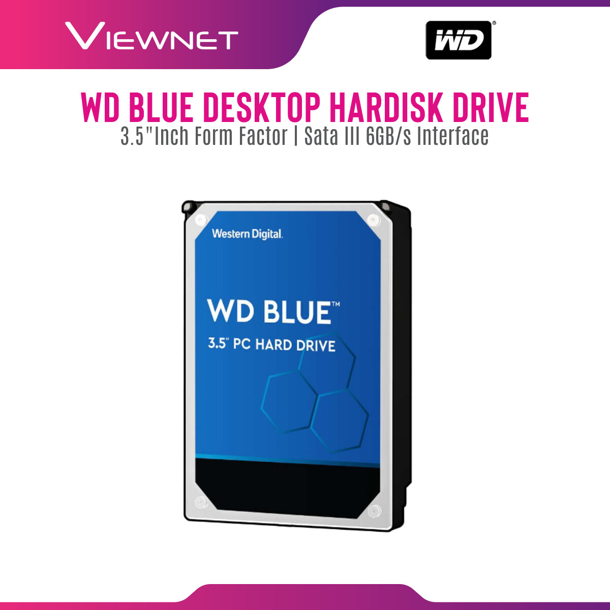 WD WESTERN DIGITAL CAVIAR BLUE 3.5  PC DESKTOP INTERNAL HDD SATA III 64MB (1TB 2TB 3TB 4TB 6TB) Internal hard disk