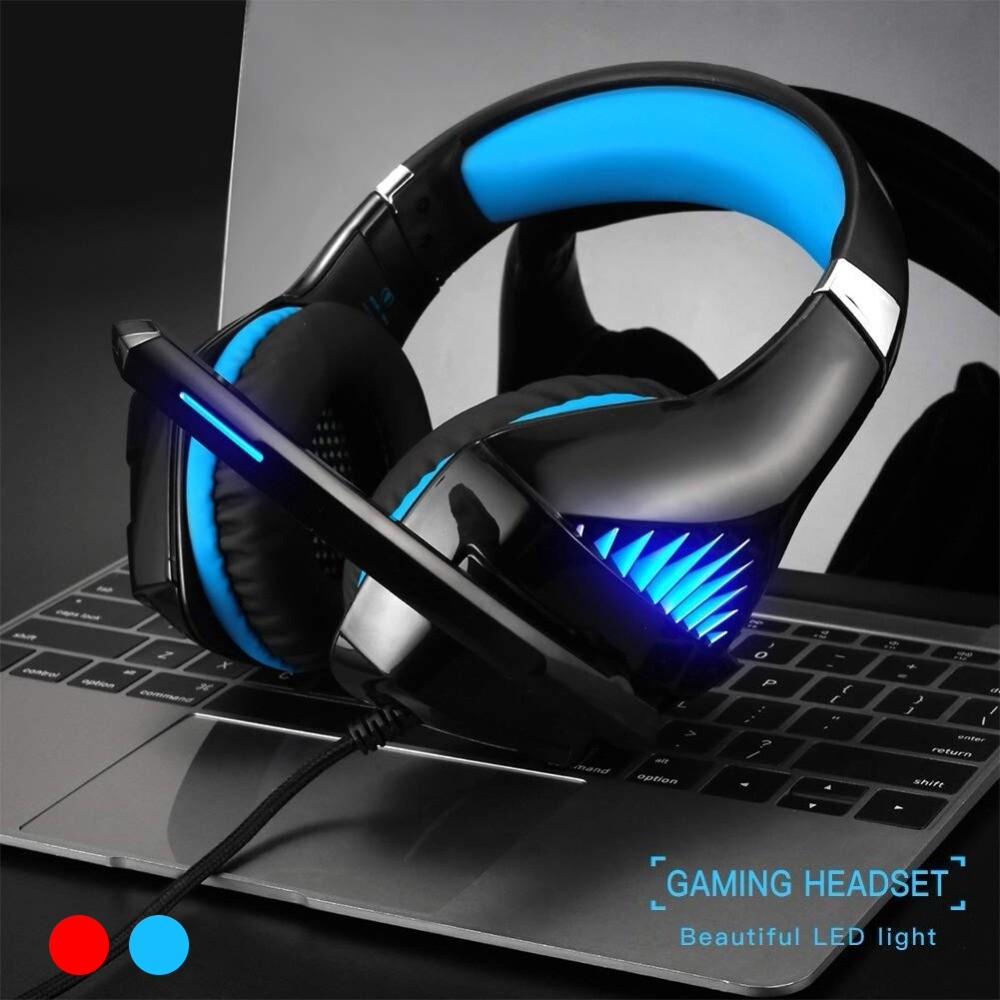 Over-Ear Headphones - Beexcelente Wired Gaming Head SET Microphone Stereo Headphone For PS4/Xbox/Laptop - BLUE / RED