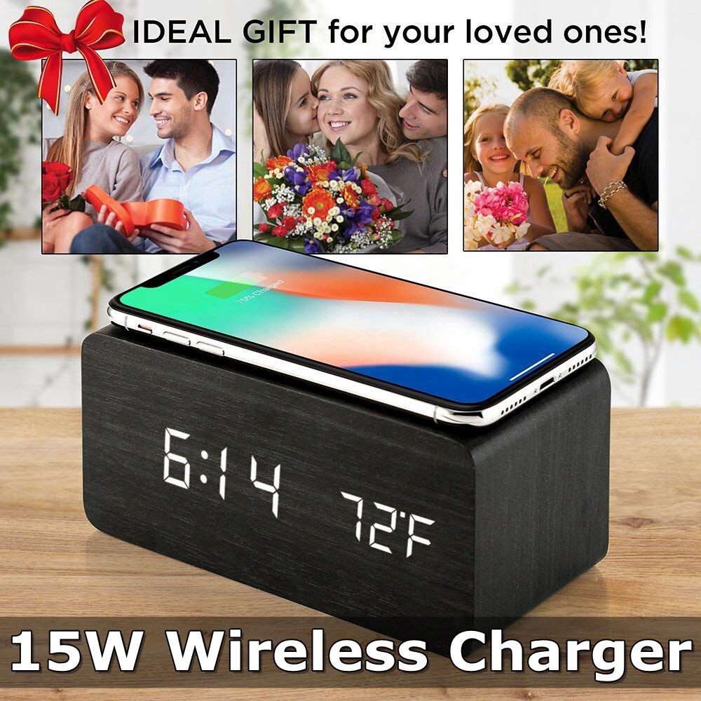 Chargers - 3in1 Qi Alarm WIRELESS Charger Clock Digital LED Desk Thermometer For iPh11/x - Cables