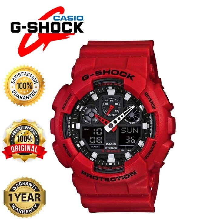 Leo Marketing 100%Original  CASi0 G-Sh0ck GA_100 Men Sport Watch Dual Time Display 200M Water Resistant Shockproof and Waterproof World Time LED Auto Light Sports Wrist Watches with Warranty GA-100B-4A Red (Ready Stock)