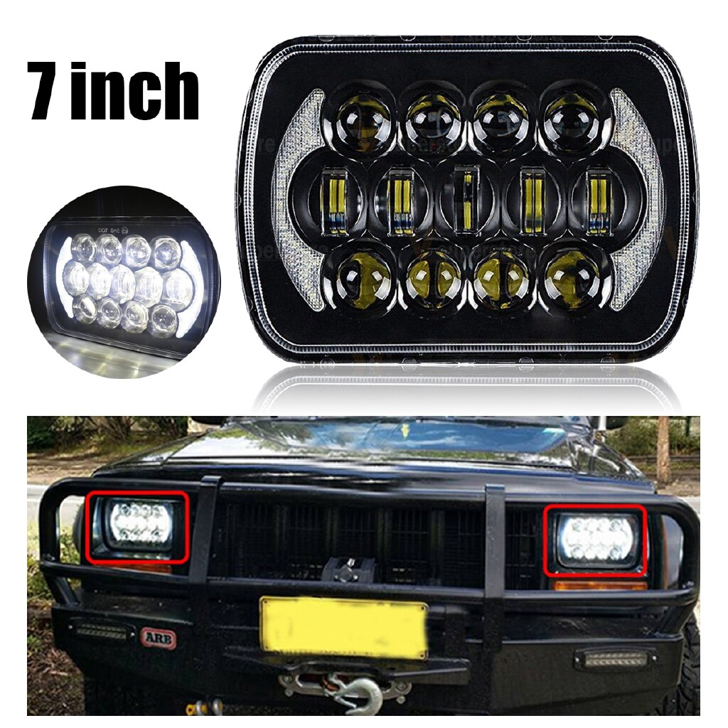 Car Lights - 105W 5X7 Black LED Headlight H4 Hid Bulb For Jeep Cherokee XJ YJ MJ H6054 - Replacement Parts