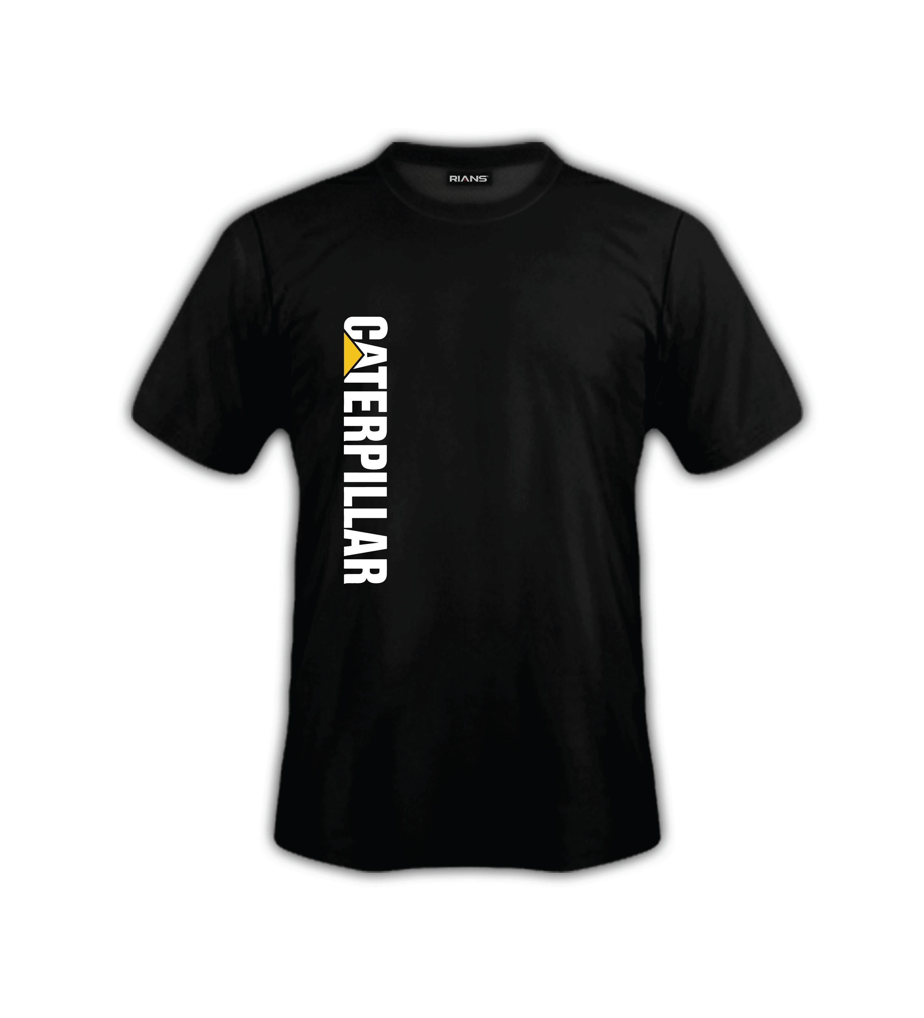 T-Shirt CATERPILLAR Right Down Text 100% Cotton Baju Tshirt Black White Hitam Putih Bossku