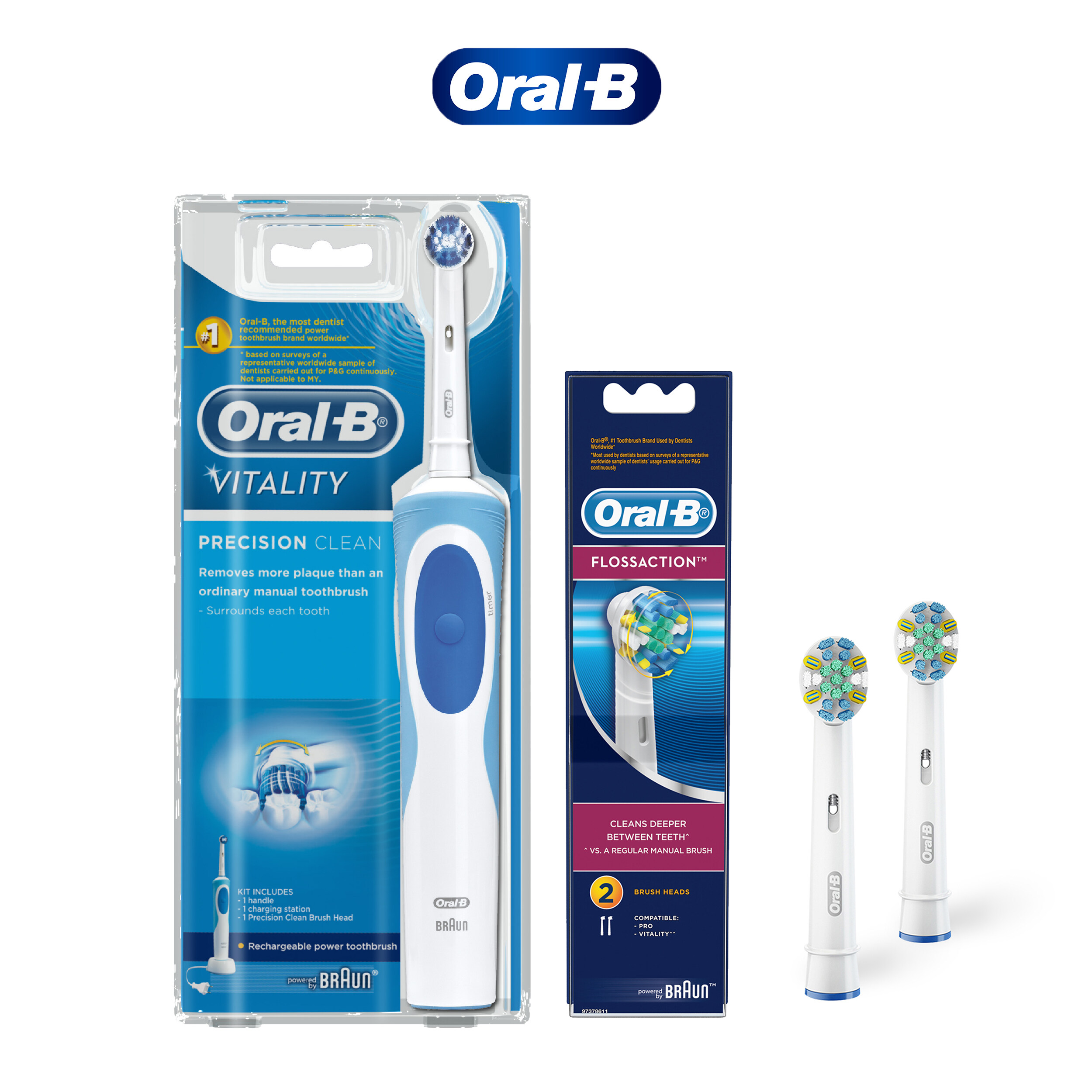 Oral-B Vitality Precision Clean Electric Toothbrush & Floss Action Refill 2 Count