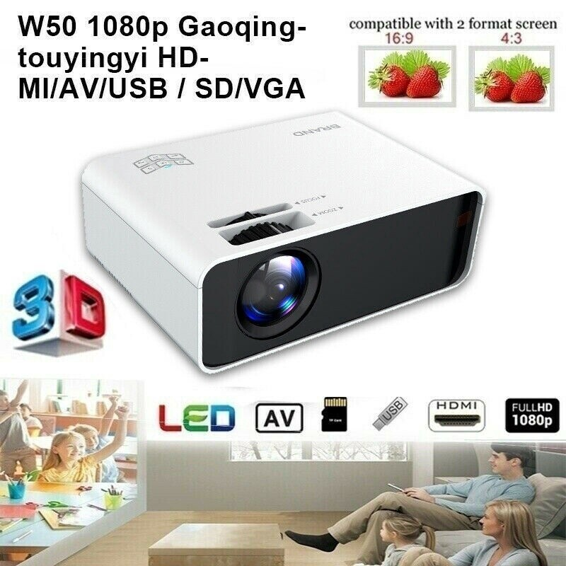 8000 Lumens 1080P WiFi 3D 4K HD LED Mobile Phone WIRELESS Projector Home Theater