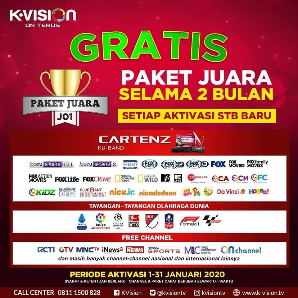 Top Up Rp50000 Kvision Bromo Cartenz utk extra 1 bulan all channel