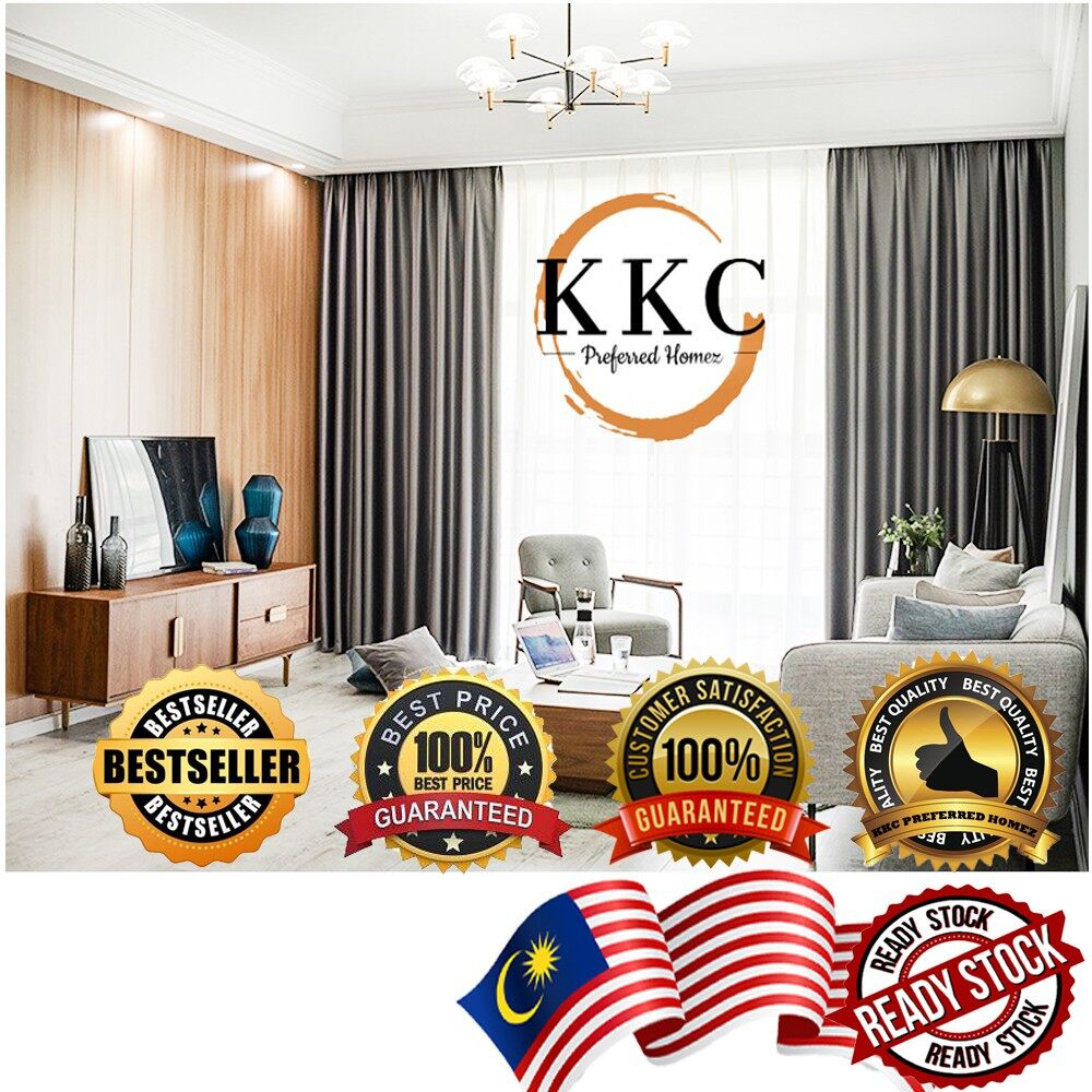 Hilton Blackout Curtains With Eyelet (Ring Type) / French Pleated (Hook Type) ~ Ready Stock & Ship from Malaysia