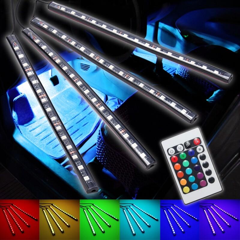Car Lights - 15LED Remote Control RGB Car Interior Floor Atmosphere Strip Light DC12V - Replacement Parts