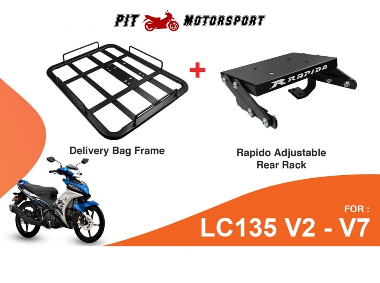 Monorack LC135 V2-V7 RAPIDO Foodpanda Grabfood Heavy Duty With Delivery Bag Frame Tapak Monorack LC4S LC5S LC135 V2 V3 V4 V5 V6 V7 ACCESSORIES MOTOR Food Panda Grab