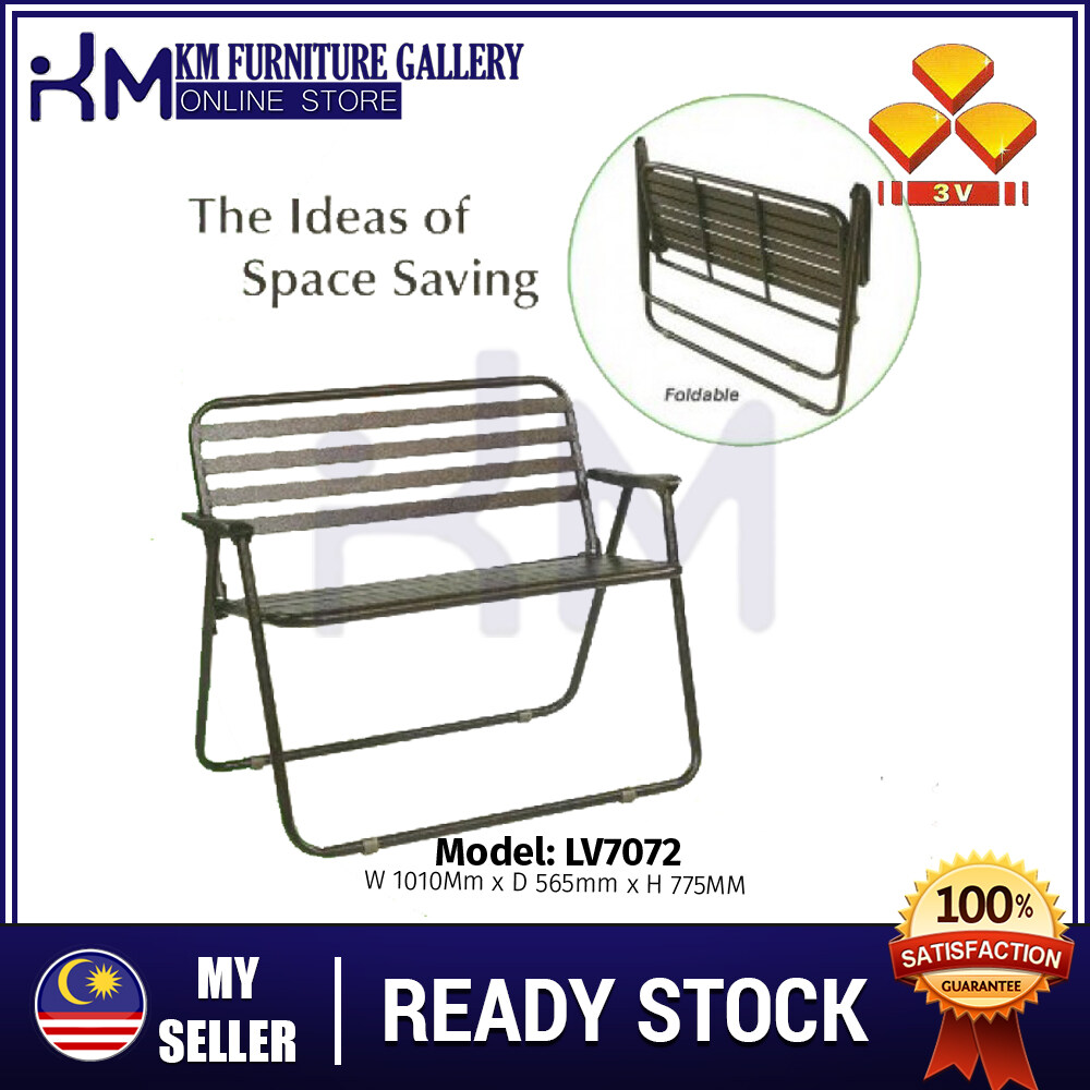 KM Furniture 3V LV7072/ LV7073 Outdoor Garden 2/ 3 Seater Foldable Bench/ Kerusi Taman KMLV7072