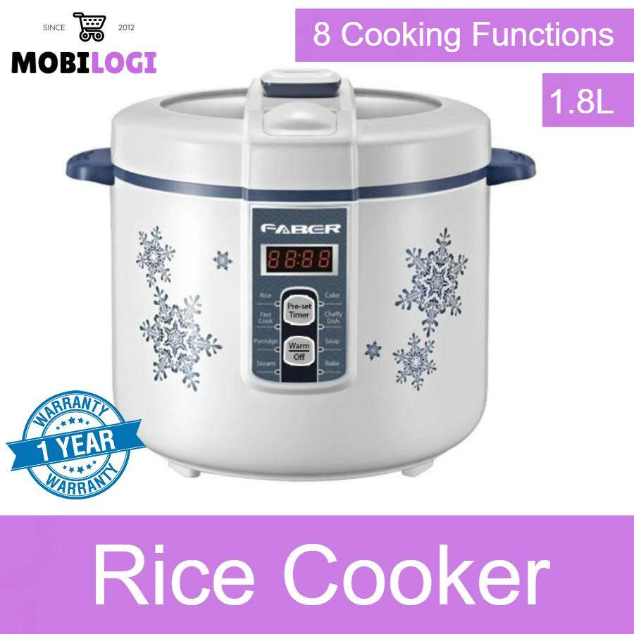 Faber 1.8L Non-Stick Rice Cooker Periuk Nasi-8 Cooking Functions/Steamboat-Rice-Porridge-Fast Cook-Cake-Soup-Fry
