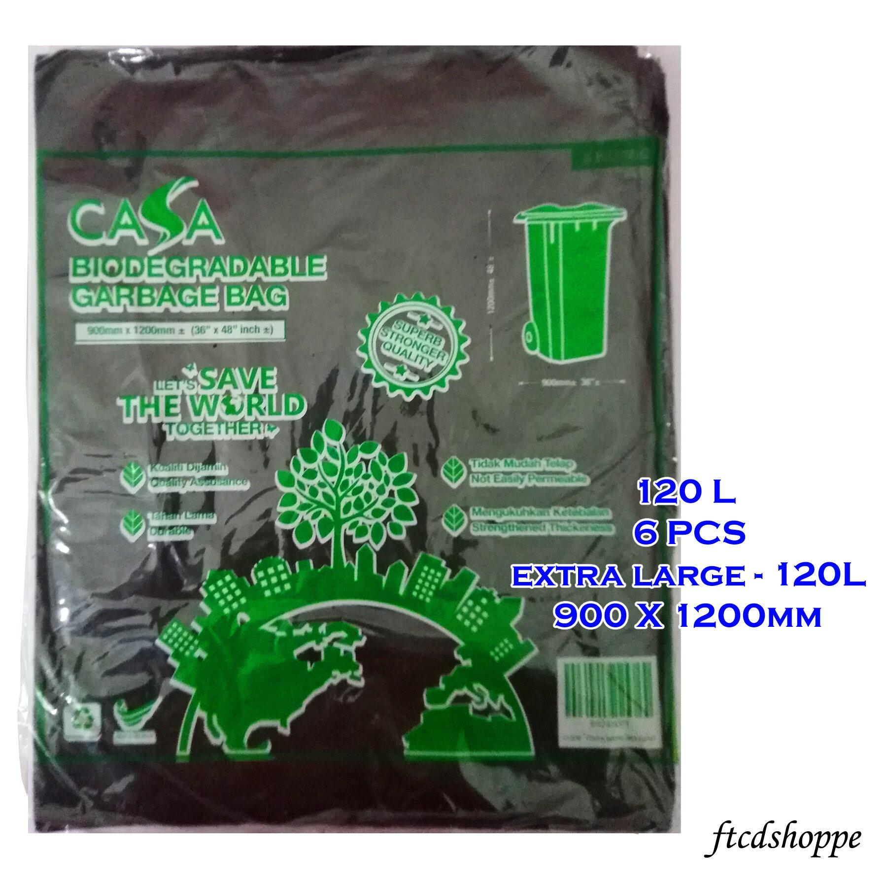 CASA Beg Plastik Sampah / Garbage bag Extra Large 120L (6 Pcs) 900 x 1200 mm - Oxo Biodegradable