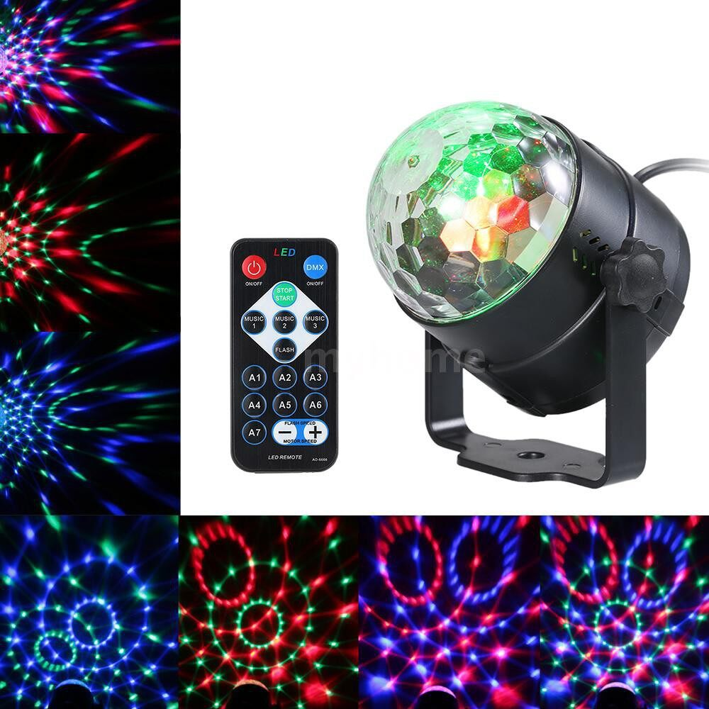 Lighting - 3W RGB Remote Control MINI LED Magic Ball Lamp Stage Effect Light for Disco KTV Club Bar Home - 2