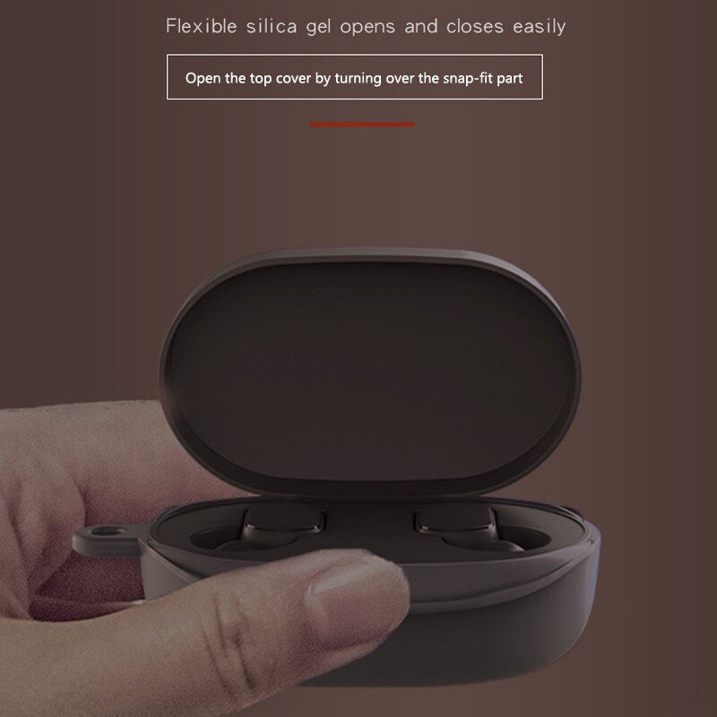 Silicone WIRELESS Earphone Case for Xiaomi Redmi Airdots TWS BLUETOOTH Earphone Case - BLACK / DARK BLUE / RED / GREEN / WHITE / PINK / BLUE / GRAY
