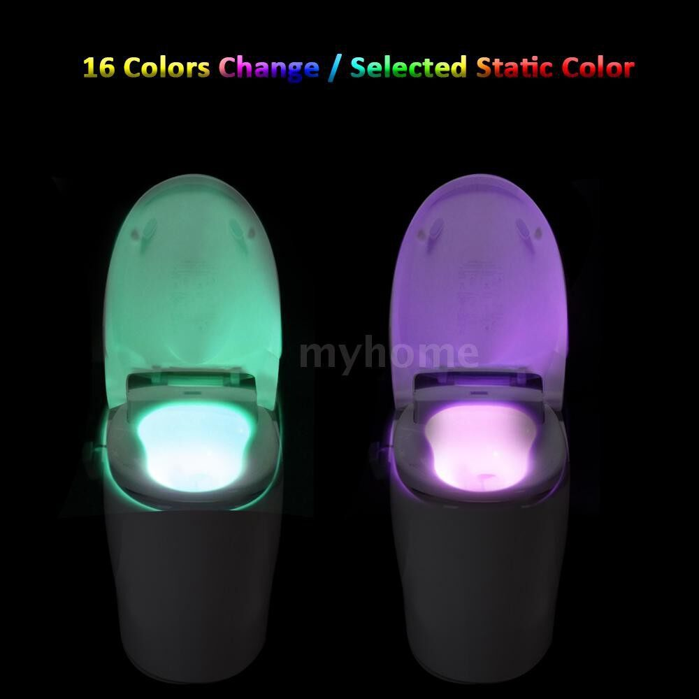 Lighting - 16 Colors LED Dimmable Flexible A+ Level Power Saving Toilet Seat Night Lamp Motion Activated - #