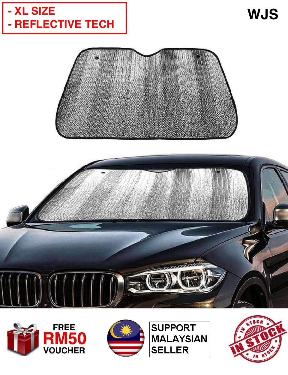 (WITH REFLECTOR TECHNOLOGY) WJS Extra Large Car Sunshade Solar Reflective Vehicle Cool Sun Shades Block UV Rays Front Car Sunshade Windshield with 2 Suction Suckers for Car SUV Trucks SILVER [FREE RM 50 VOUCHER]