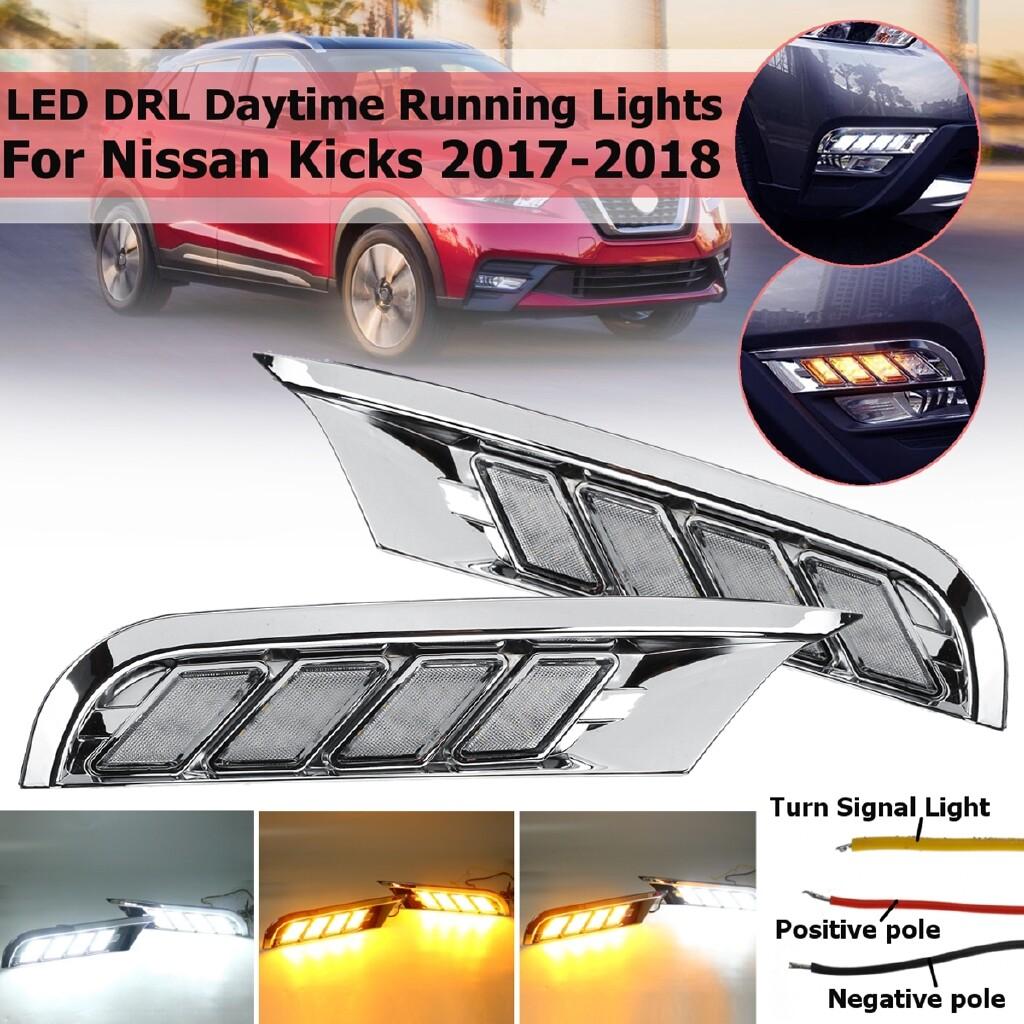 Car Lights - Pair LED DRL Daytime Running Lights Turn Singal Lamp For Nissan Kicks 2017- - Replacement Parts