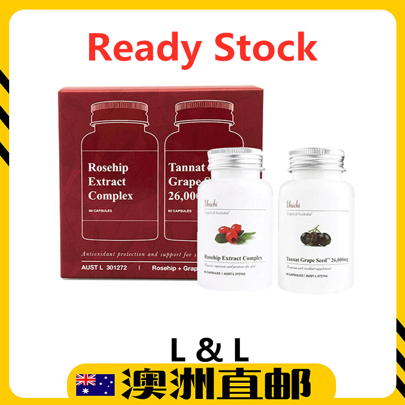 [Ready Stock EXP: 01/2022yr] Unichi Rosehip Extract Complex + Tannat Grape Seed Whitening Set (60 Capsules) (From Australia)