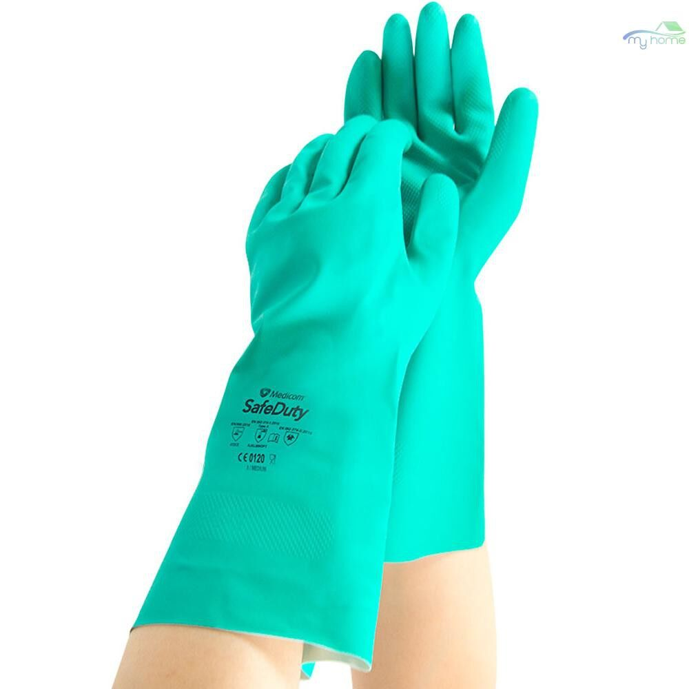 Protective Clothing & Equipment - Medicom 1159 Safety Gloves Anti-chemical Nitrile Rubber Protective Gloves Wear-resistant Waterproof - GREEN-XL / GREEN-L / GREEN-M