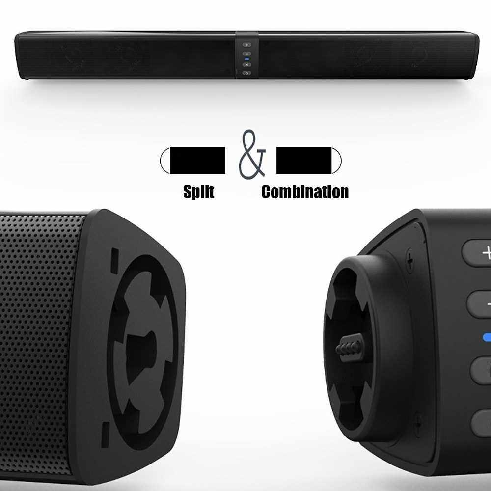 BS-36 BT Wireless Speaker Soundbar IPX4 Waterproof 2000mAh Rechargeable Battery Support TF USB AUX RCA Player FM MP3 HiFi Stereo Speaker Audio Sound Deep Bass Wireless Device For Home Outdoor (Standard)