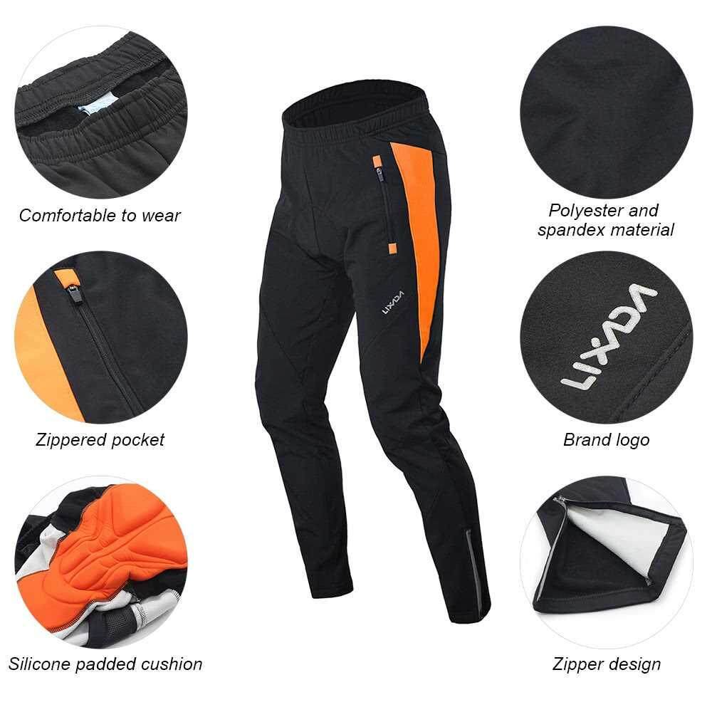 Lixada Men's Outdoor Cycling Pants Winter Thermal Breathable Comfortable Trousers with Padded Cushion Riding Sportswear (orange)