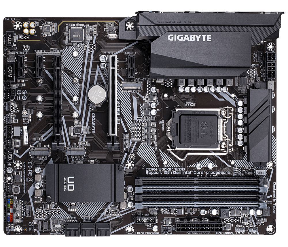 Gigabyte Z490 UD Mainboard, Direct 11+1 Phases Digital VRM, Extended MOS Heatsink, Dual NVMe PCIe 3.0 x4 M.2, GbE Gaming LAN, Integrated I/O Shield, Q-Flash PLUS, RGB FUSION 2.0