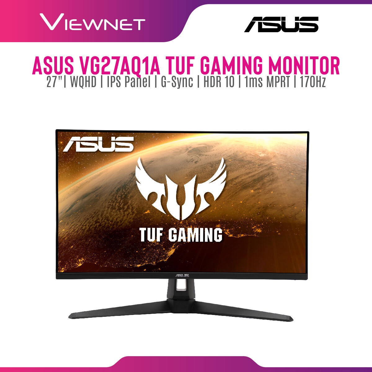 Asus TUF Gaming VG27AQ1A G-SYNC Compatible Gaming Monitor – 27 inch WQHD (2560 x 1440), IPS, 170Hz (Above 144Hz), 1ms MPRT, Extreme Low Motion Blur, G-SYNC Compatible, HDR 10