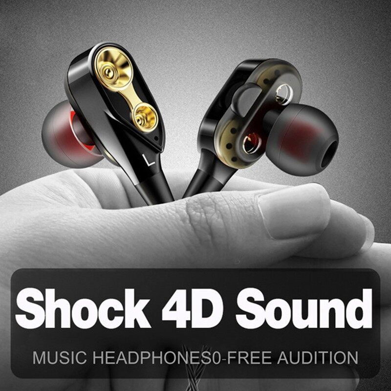 Wired Earphone High Bass Dual Drive Stereo In-Ear Earphones with Microphone Computer - BLACK-SINGLE SPEAKER / BLACK-DOUBLE SPEAKER / RED-SINGLE SPEAKER / RED-DOUBLE SPEAKER / GOLD-SINGLE SPEAKER / GOLD-DOUBLE SPEAKER / WHITE-SINGLE SPEAKER / WHITE-DO