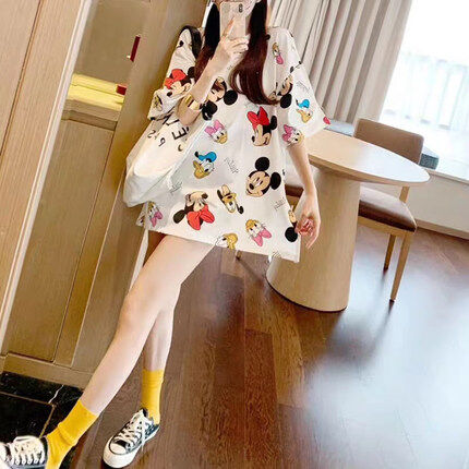 (PRE ORDER) WOMEN 3/4 MICKEY PRINT MID LENGTH T-SHIRT