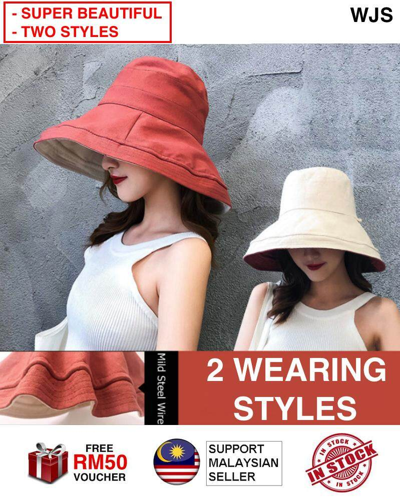 (TWO WEARABLE STYLES) WJS Women Sun Hat Female UV Protection Hat Collapsible Summer Beach Cap 2 Sides to Wear Panama Beach Cap Wide Brim Anti-UV Cap Sun Shade Hat with Detachable Wind Rope 4 COLORS [FREE RM 50 VOUCHER]