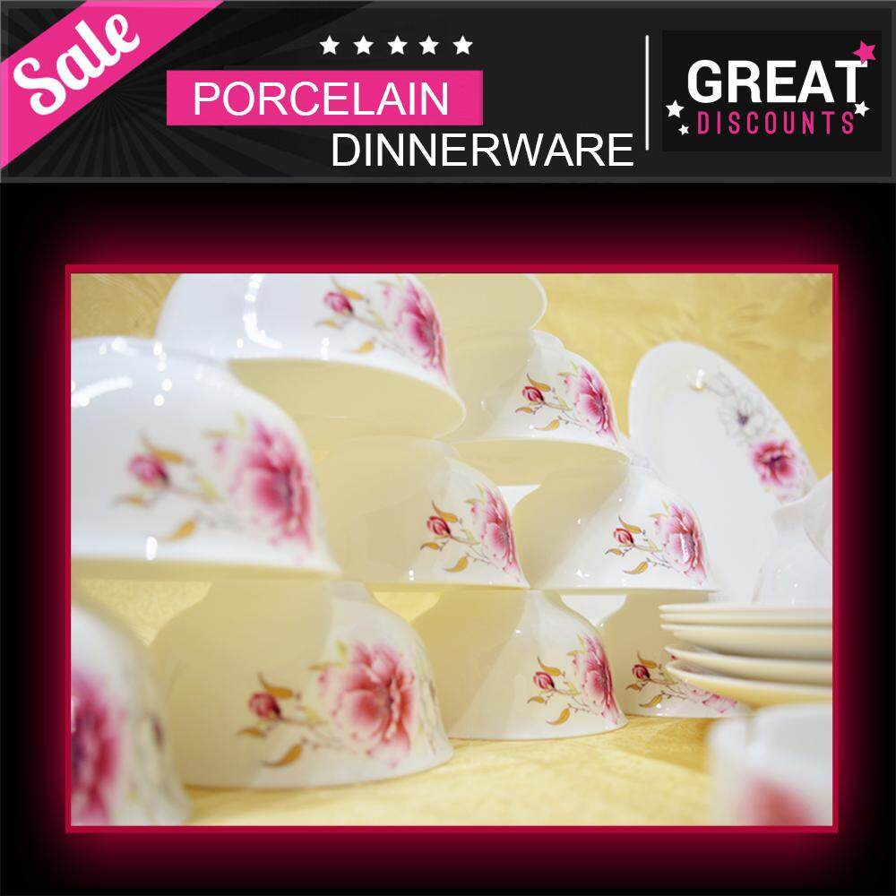 Fortune Fine Porcelain 28 Pcs Round Dinnerware Plate Set White + Flower + Pink