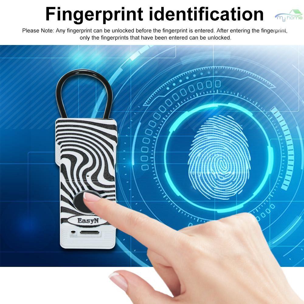 Chains & Locks - EasyN Smart Keyless Fingerprint Padlock Smart Keyless Finger Touch Lock Biometric Unlock - BLACK&WHITE