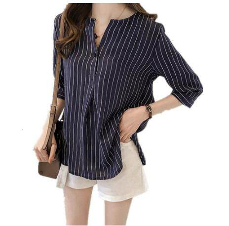 Fashion Stripe Shirt Women Loose Casual White Blouse