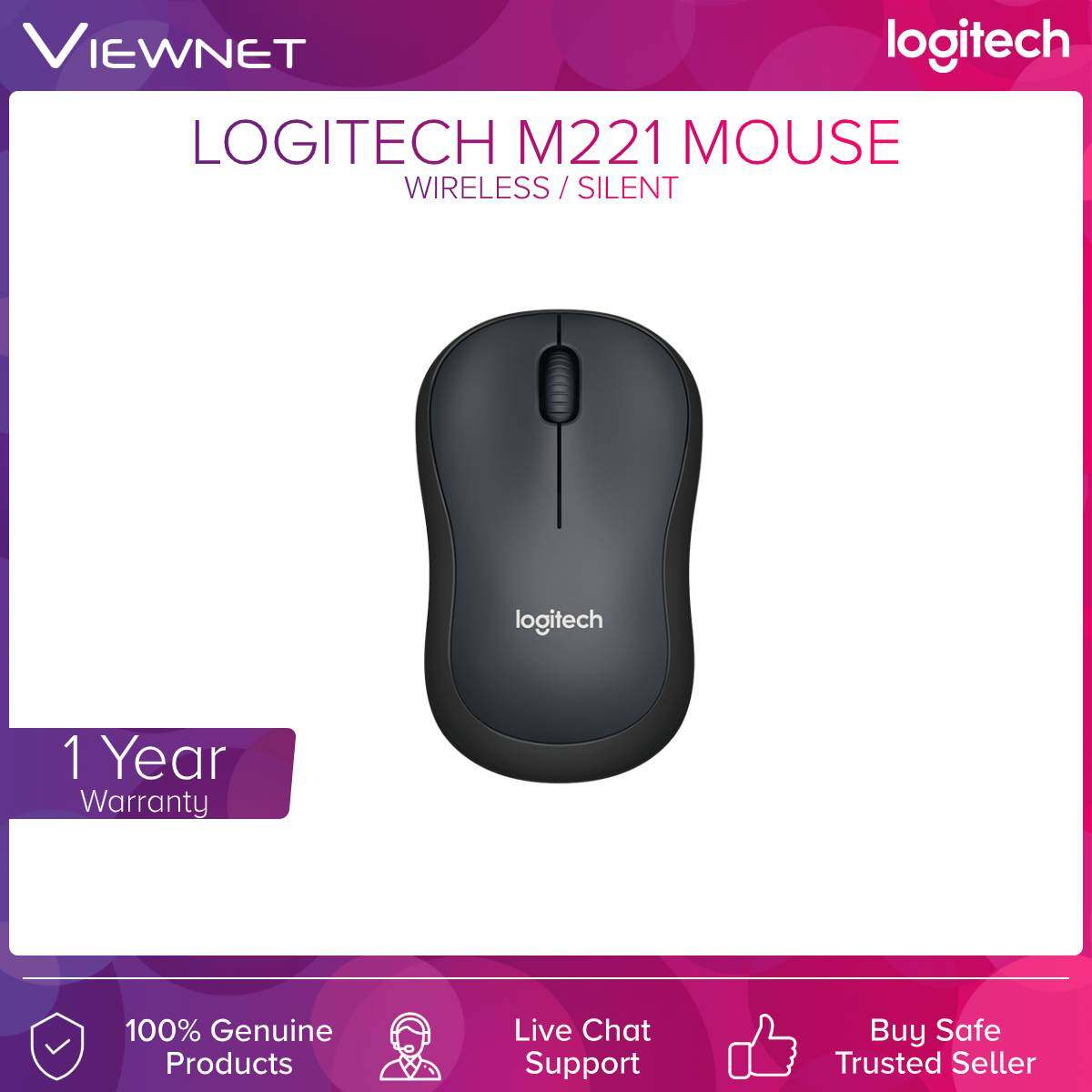 Logitech M221 Silent Wireless Mouse (Charcoal/Blue/Red)