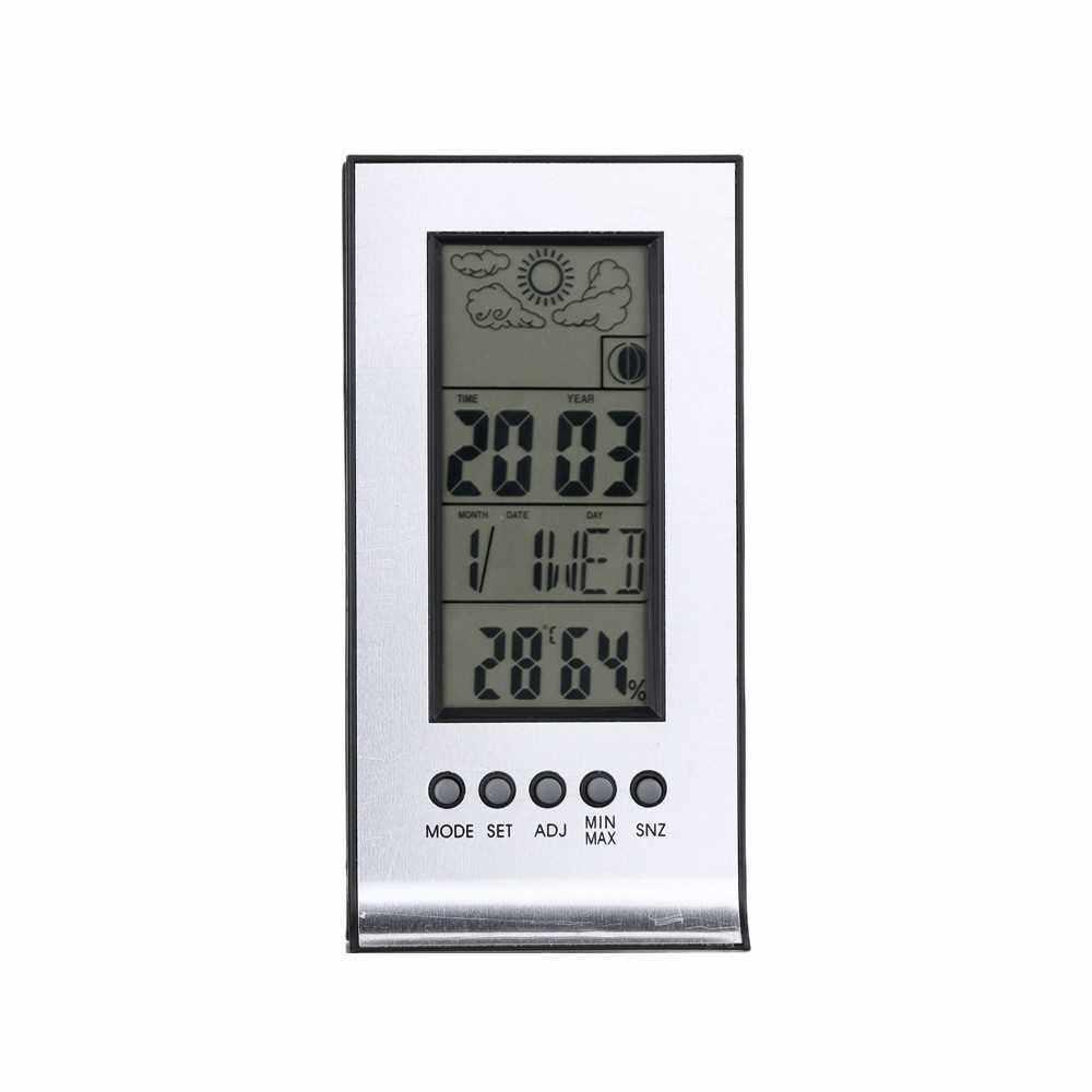 Multifunctional Outdoor/Indoor Hygrometer Thermometer Digital Humidity Temperature Meter Monitor Alarm Clock Calendar LCD Display (Standard)