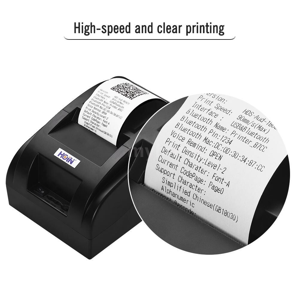 Printers & Projectors - HOIN Small PORTABLE USB 58mm Thermal Receipt Printer Voice Broadcast Bill Ticket Printing - Computer & Accessories