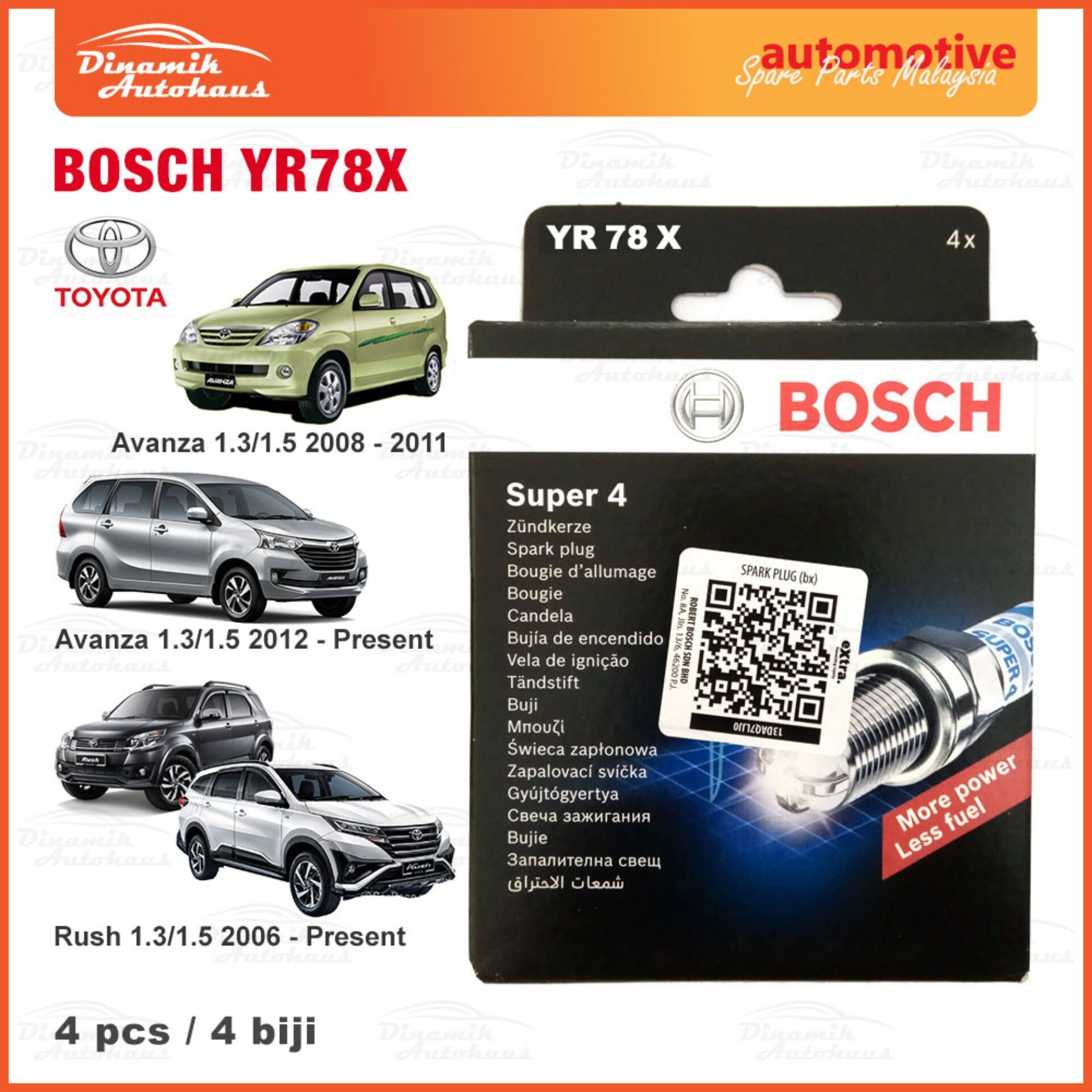 Toyota Avanza Year 2007+ / Rush Year 2007+ Model Car Spark Plug Bosch YR78X Super 4 (4pcs)